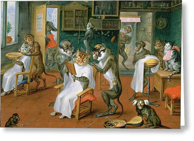 Anthropomorphic Greeting Cards - Barbers Shop With Monkeys And Cats Oil On Copper Greeting Card by Abraham Teniers