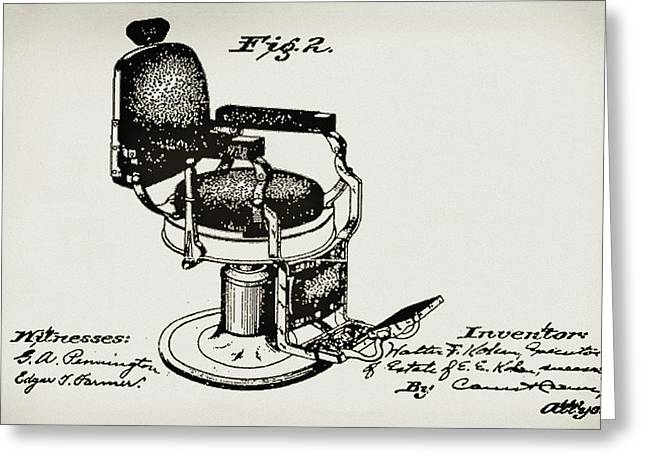 Barbershops Greeting Cards - Barbershop Chair Patent Greeting Card by Digital Reproductions