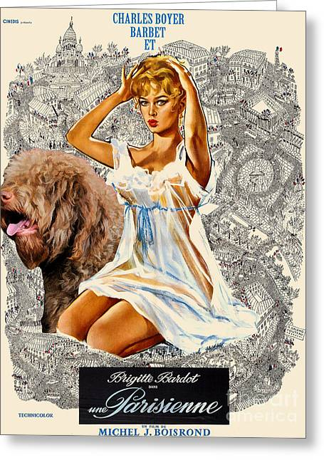 Dog Prints Greeting Cards - Barbet Art - Una Parisienne Movie Poster Greeting Card by Sandra Sij