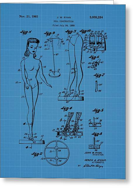 Doll Drawings Greeting Cards - Barbie Doll Blueprint Greeting Card by Dan Sproul