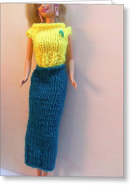 Knitted Dress Greeting Cards - Barbie Doll dressed for a Night Out Greeting Card by L M Reid