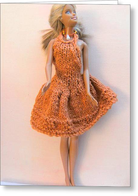 Knitted Dress Greeting Cards - Barbie Doll dressed for a Summers Evening Greeting Card by L M Reid
