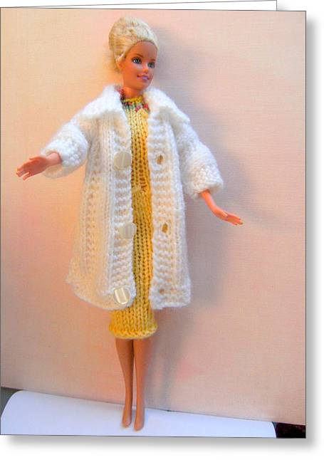 Knitted Dress Greeting Cards - Barbie Doll in a dress and coat Greeting Card by L M Reid