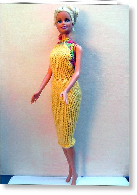 A Summer Evening Greeting Cards - Barbie Doll in a knitted dress Greeting Card by L M Reid