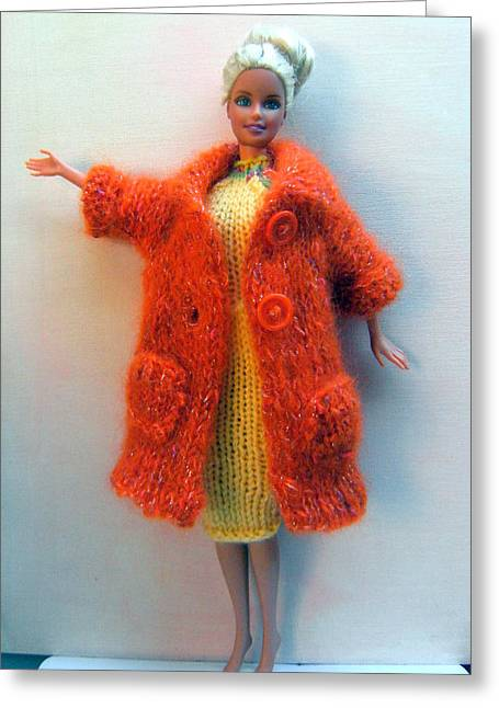 Knitted Dress Greeting Cards - Barbie Doll in Knitted Clothes Greeting Card by L M Reid