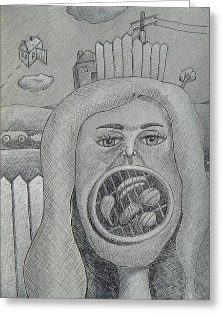 Fence Pole Drawings Greeting Cards - Barbie Mouth Greeting Card by Ronald Walker