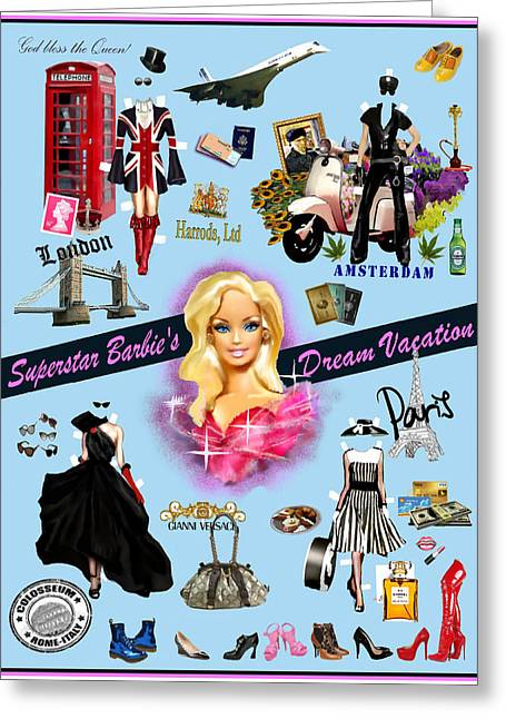 Concord Digital Greeting Cards - Barbies Superstar Dream Vacation Greeting Card by Jann Paxton
