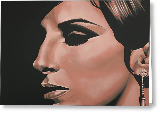 Realistic Paintings Greeting Cards - Barbra Streisand Greeting Card by Paul  Meijering