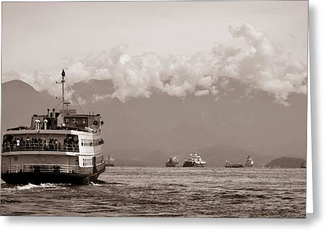Ocean Images Greeting Cards - Barca Rio-Niteroi ferry boat on Baia de Guanabara Greeting Card by Celso Diniz