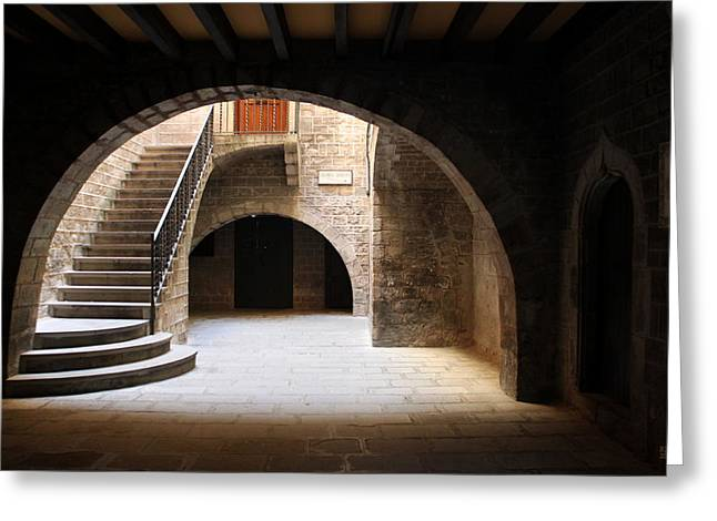 Entryway Greeting Cards - Barcelona Arches Greeting Card by Barb Gabay