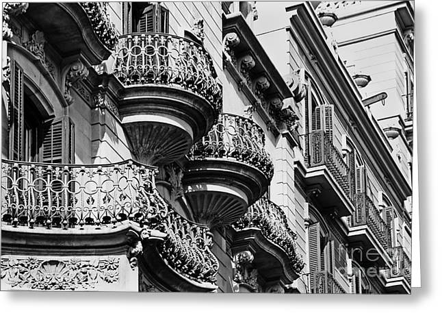 Haus Greeting Cards - Barcelona Balconies Greeting Card by Meleah Fotografie