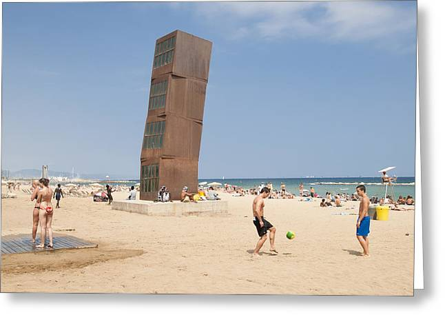 Catalunya Greeting Cards - Barcelona beach Spain Greeting Card by Matthias Hauser