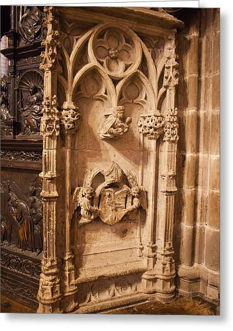 Sculpture Relief Greeting Cards - Barcelona Cathedral Architectural Details Greeting Card by Artur Bogacki