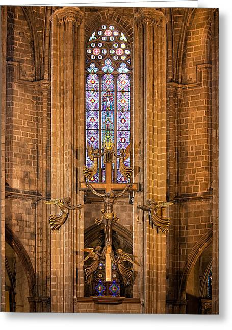 Gothic Crucifix Greeting Cards - Barcelona Cathedral Crucifix Greeting Card by Artur Bogacki