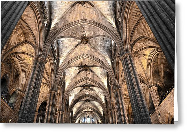 Gothic Cathedral Greeting Cards - Barcelona Cathedral vaults Greeting Card by RicardMN Photography