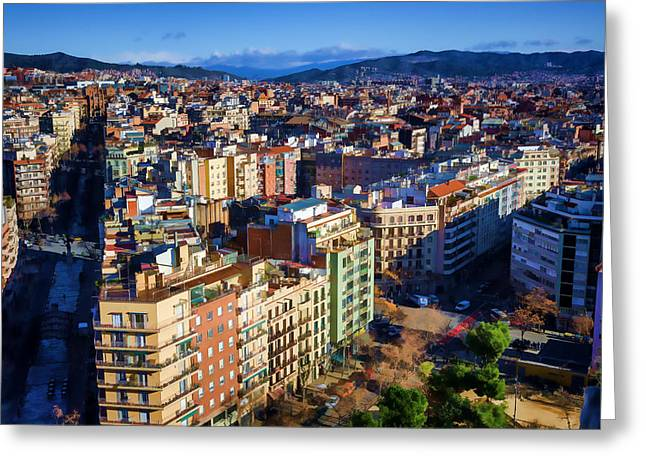 Street View Greeting Cards - Barcelona from Sagrada Familia Greeting Card by Joan Carroll