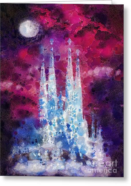 T Travel Greeting Cards - Barcelona Night Greeting Card by Mo T