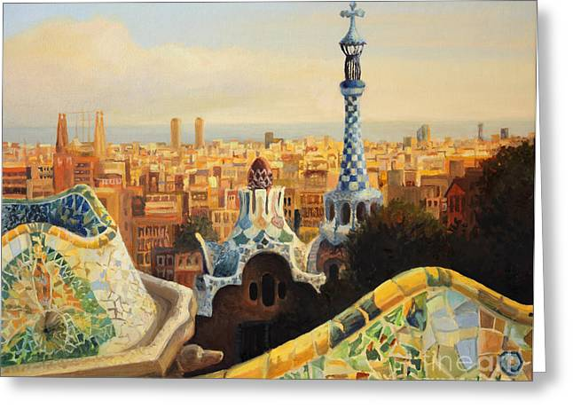 Mosaic Paintings Greeting Cards - Barcelona Park Guell Greeting Card by Kiril Stanchev
