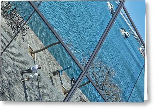 Glass Wall Greeting Cards - Barcelona reflections Greeting Card by Jaroslav Frank