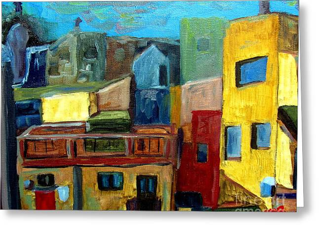 Pablo Greeting Cards - Barcelona Rooftops Greeting Card by Greg Mason Burns