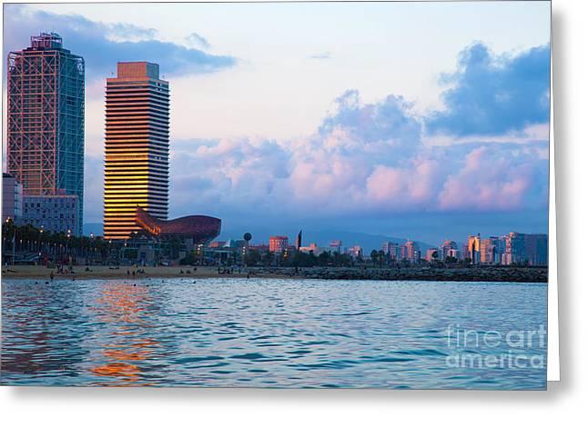 Barceloneta Greeting Cards - Barcelona skyline from sea Greeting Card by Michal Bednarek