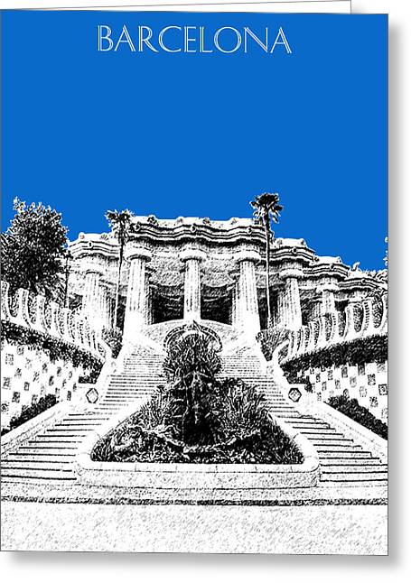 Guell Greeting Cards - Barcelona Skyline Park Guell - Blue Greeting Card by DB Artist