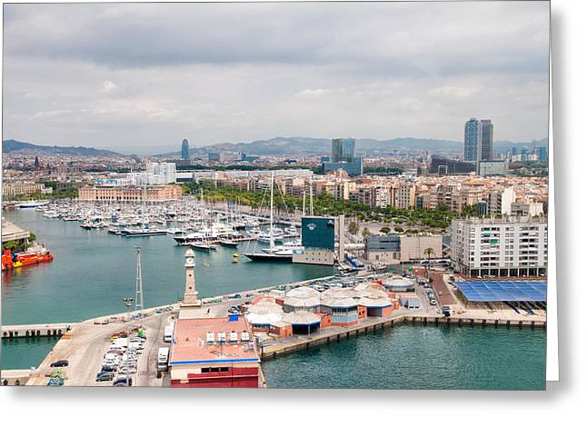 Catalunya Greeting Cards - Barcelona Spain harbor and city Greeting Card by Matthias Hauser