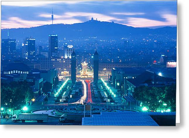 City Buildings Greeting Cards - Barcelona Spain Greeting Card by Panoramic Images