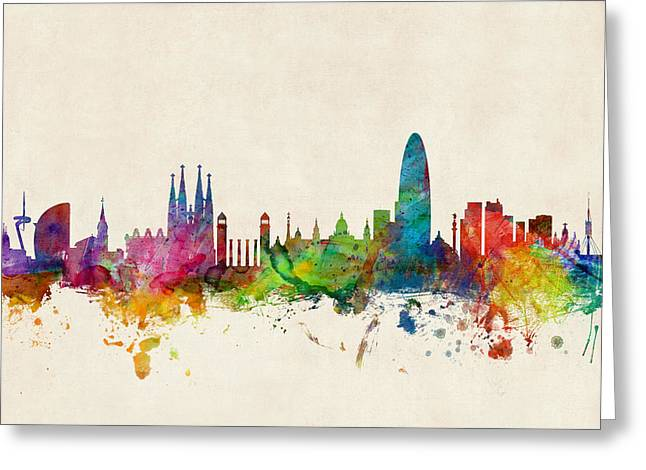 Spanish Greeting Cards - Barcelona Spain Skyline Greeting Card by Michael Tompsett
