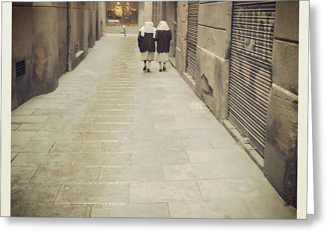 Sister Framed Prints Greeting Cards - Barcelona Street Greeting Card by Victoria Herrera
