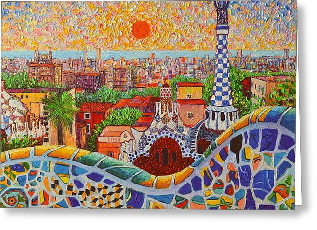 Recently Sold -  - Green And Yellow Greeting Cards - Barcelona Sunrise Light - View From Park Guell Of Gaudi - Square Format Greeting Card by Ana Maria Edulescu