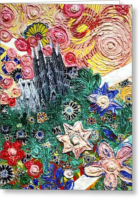Barcelona Pastels Greeting Cards - Barcelona the Sagrada Familia flowers Greeting Card by Luz Amanda Luz
