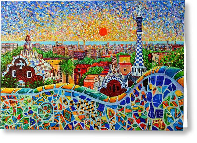 Skyline Paintings Greeting Cards - Barcelona View At Sunrise - Park Guell  Of Gaudi Greeting Card by Ana Maria Edulescu