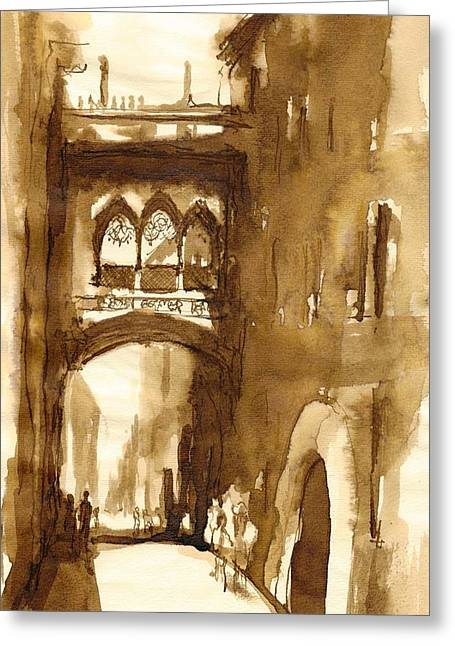 Barcelona Drawings Greeting Cards - Barcelona_4 Greeting Card by Karina Plachetka