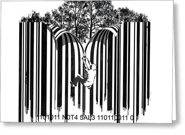 Painted Walls Greeting Cards - Barcode graffiti poster print Unzip the code Greeting Card by Sassan Filsoof