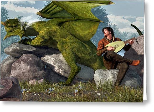 Dungeons Greeting Cards - Bard And Dragon Greeting Card by Daniel Eskridge