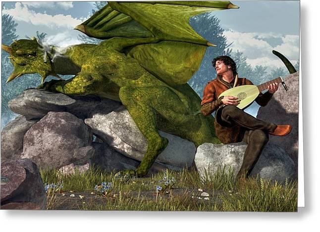 Bard And Dragon Greeting Card by Daniel Eskridge