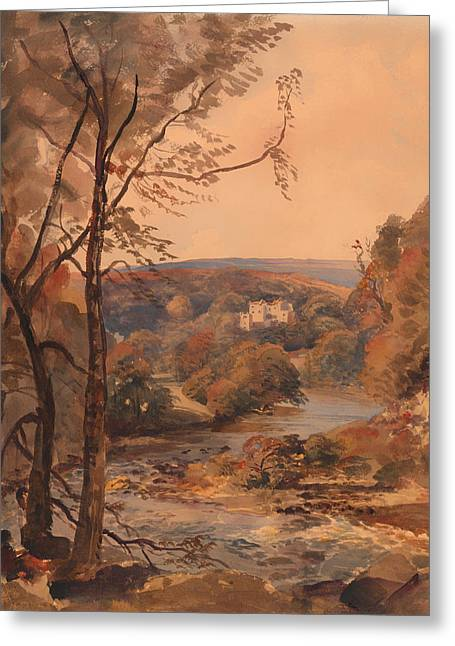 Painted Wood Drawings Greeting Cards - Barden Tower Yorkshire Greeting Card by Peter DeWint