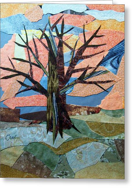 Gray Tapestries - Textiles Greeting Cards - Bare Branches at Dusk Greeting Card by Charlene White