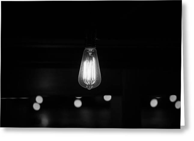 Edison Greeting Cards - Bare Bulb Greeting Card by Allan Morrison