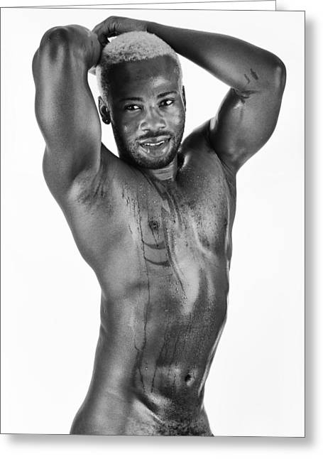 Bare Chested Greeting Cards - Bare Chested Black Man Greeting Card by Raw Afrika Photography