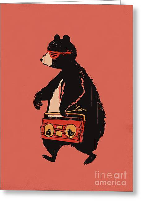 Bear Carrying Boombox Greeting Cards - Bare necessity Greeting Card by Budi Satria Kwan