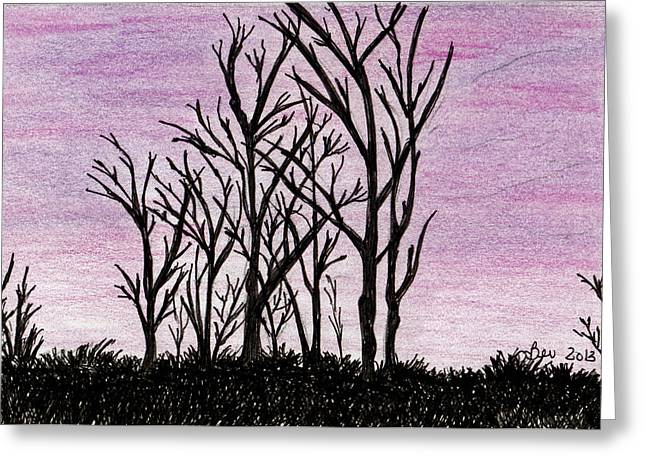 Maine Landscape Drawings Greeting Cards - Bare Trees Greeting Card by Beverly Farrington