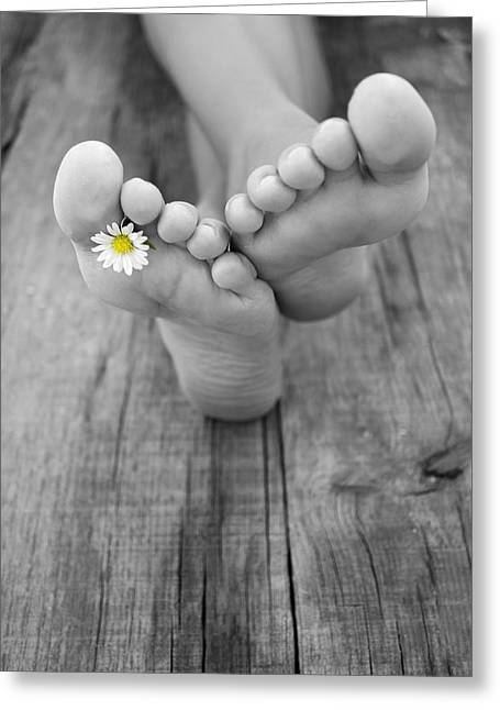 Foot Greeting Cards - Barefoot Greeting Card by Aged Pixel