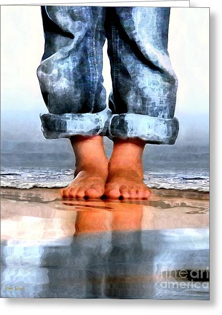 Dungarees Greeting Cards - Barefoot Boy   Greeting Card by Dale   Ford