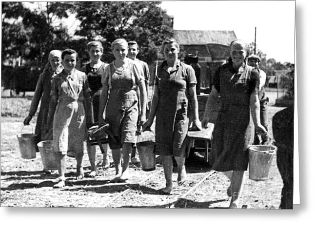 Slave Labor Greeting Cards - Barefoot Milkmaids - 1939 Greeting Card by Barbara McMahon