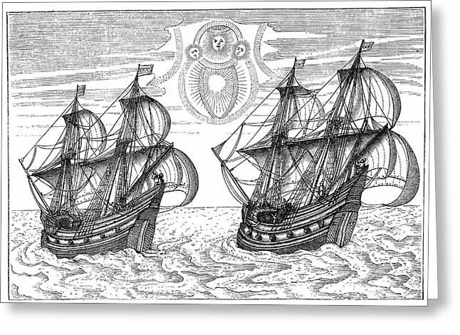Barents' And Rijp's Vessels Greeting Card by Universal History Archive/uig