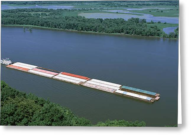 Mississippi River Scene Greeting Cards - Barge In A River, Mississippi River Greeting Card by Panoramic Images