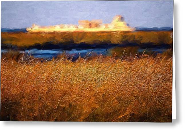 Barges Greeting Cards Greeting Cards - Barge in the Distance Greeting Card by Melinda Dreyer