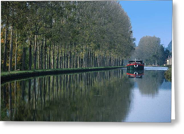 Barge on Burgandy Canal Greeting Card by Carl Purcell